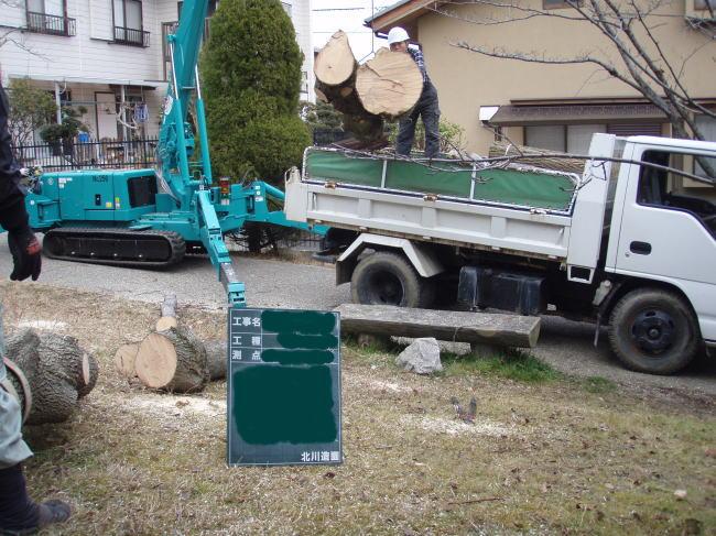 3tカニクレーンを使った作業難所の間伐作業